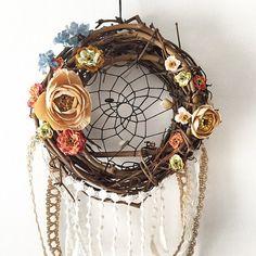 Boho Rustic Chic Floral Wreath Dream Catcher by ZenLunaticNYC
