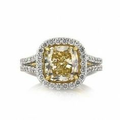 This gorgeous fancy yellow cushion cut diamond ring is breathtaking from every angle! The magnificent cushion cut diamond is GIA Certified at Fancy Light Yellow Yellow Diamond Engagement Ring, Unusual Engagement Rings, Yellow Diamond Rings, Cushion Cut Engagement Ring, Designer Engagement Rings, Bridal Rings, Wedding Rings, Beautiful Diamond Rings, Yellow Cushions