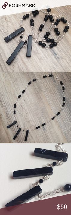 Selling this handmade banded agate trio & black jasper necklace on Poshmark. Shop my closet!