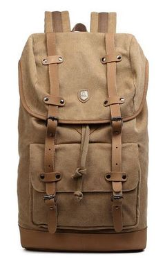Canvas Daypack with Leather Straps & Laptop Sleeve - Premium Quality #Travelbag