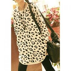 Hot Sale Leopard Round Collar and Long Sleeves Blouse For Female, LEOPARD in Long Sleeves   DressLily.com