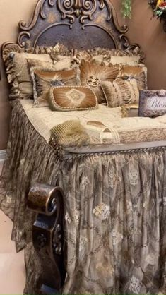 The Luxury Champagne Bedding Collection is a mixture of shades of soft gold tones that creates a warm and inviting respite. The fabrics are a combination of velvets, textured chenilles, a plisse damask, silks, a beautiful embroidered sheer, and faux fox fur. It is embellished with beads, medallions, and Swarovski crystal pieces. This set makes a beautiful addition to almost any color palette. Black Bed Sheets, Silk Bed Sheets, Queen Bed Sheets, Best Bed Sheets, Luxury Bedding Collections, Luxury Bedding Sets, Stocking Ornaments, Victorian Curtains, Toddler Bed Sheets