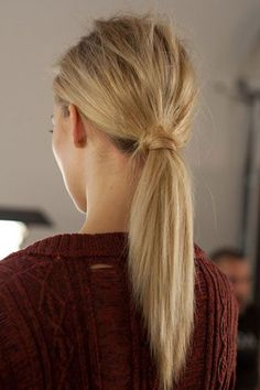Messy wrapped ponytail.