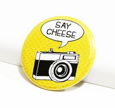 Camera Pins Photographer Buttons Say Cheese Quotes Pins Polka Dot Pattern Pinback Buttons Photography Accessories