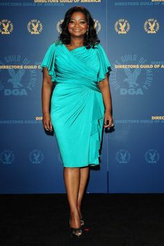 octavia spencer - the apple shape can really play with drapes well... this one is so beautiful.. we call it perfection... even the sleeves make her appear beautiful.. or is it the smile?