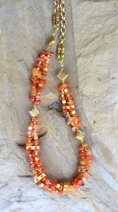 Carnelian Necklace Beaded Golden Necklace 43 by LKArtChic on Etsy