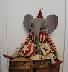Must Make for my Vintage Circus class theme.  Primitive Folk Art Circus Elephant Doll by The Vintage Polka Dot