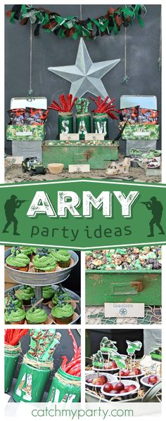 Check out this awesome Army birthday party. The solider topped cupcakes are fantastic!! See more party ideas and share yours at CatchMyParty.com #army #boybirthday #soliders
