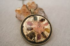 """Revitalize & Open the Heart Orgone Necklace - Multicolor Tourmaline """"Orgone energy"""" Protection """"October Birthstone"""" Gifts for her. Reiki Energy, Serenity, Rings For Men, Silver Rings, Healing, Trending Outfits, Pendants, Unique Jewelry, Handmade Gifts"""
