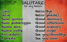 Learning Italian Through Vocabulary Italian To English, Italian Verbs, Basic Italian, Italian Grammar, Learn To Speak Italian, Italian Vocabulary, Italian Phrases, Italian Language, Ciao Italian