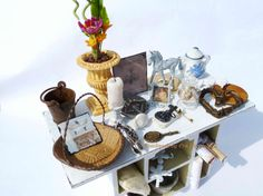 Miniature Brocante table dollhouse scale by Evamini on Etsy, $74.95