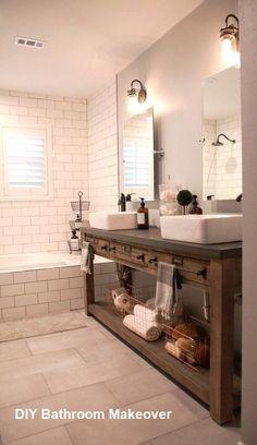 Cuarto de baño contemporáneo de suministro de diseño e instalación Trough Sink Bathroom, Wooden Bathroom Vanity, Wood Vanity, Gold Bathroom, Brown Bathroom, Bathroom Cabinets, Glass Bathroom, Bathroom Tumbler, Bathroom Wall