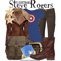 """""""Steve Rogers"""" by leslieakay on Polyvore - I weirdly love this outfit"""