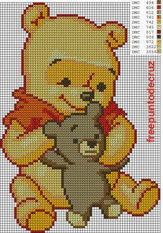 Dibujos Punto de Cruz Gratis: Winnie bebe punto de cruz Cross Stitch