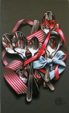 Ribbons and Spoons, 2012 by Marike Kleynscheldt, Acrylic on Canvas