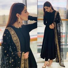 Black georgette beautiful partywear anarkali suit is part of Indian dresses - Fabric Georget suit ( length 53 )Semi stich upto silk bottom ( unstitch )Net dupatta with heavy embroidery work Pakistani Dress Design, Pakistani Outfits, Indian Outfits, Indian Wedding Outfits, Pakistani Bridal, Simple Pakistani Dresses, Pakistani Party Wear, Indian Party Wear, Indian Clothes