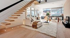 Lovely white living room decoration  flokatiteppich weiß wohnzimmer laminatboden treppen