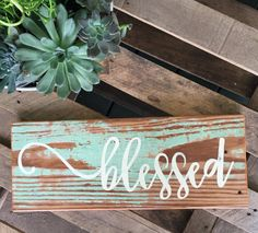 Blessed Sign/Blessed/Handpainted Blessed by YellowFarmhouseDecor