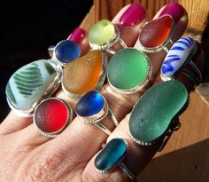 Sea glass rings... Need one of these...
