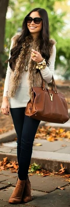 Beautiful fur vest and winter outfit sunglasses brown handbag pants trousers autumn leather shoes apparel fashion outfit clothing women style