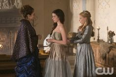 "Reign -- ""Consummation"" -- Image Number: RE113b_060.jpg -- Pictured (L-R): Amy Brenneman as Marie de Guise, Adelaide Kane as Mary, Queen of Scots and Celina Sinden as Greer -- Photo: Christos Kalohoridis/The CW -- © 2014 The CW Network, LLC. All rights reserved."