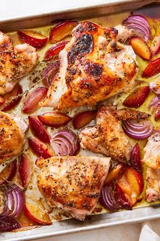 NYT Cooking: Beautiful to behold and easy to make, this sheet-pan dinner combines sweet plums and soft red onions with crisp-skinned pieces of roasted chicken. Toasted fennel seeds, red-pepper flakes and a touch of allspice add complexity while a mound of fresh torn herbs crowns the top. If good ripe plums aren't available, you can substitute another stone fruit including peaches, nectarines or pluots, thou...