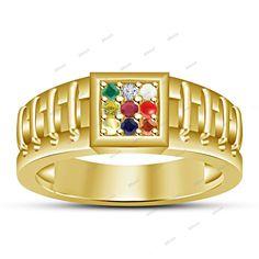 14K Yellow Gold Fn Navratna Gemstones Round Nine Color Diamond Men's Ring  #affordablebridaljewelry #NavratnaRing #DailyWear