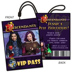 Disney Descendants Lanyard Birthday Invitation