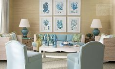 House of Turquoise: Meg Braff= sea grass walls, and color scheme is very relaxing choice. Use that art work in dining room. Home Design, Interior Design, Clean Design, Interior Ideas, Web Design, Design Ideas, Coastal Style, Coastal Decor, Seaside Style