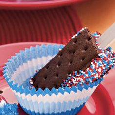 Red White and Blue Ice Cream Sandwich... bluebell has a little ice cream sandwich that would work really well with this and fast if you don't want to make your own... very fun