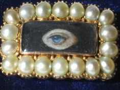 "Antique 1820's Miniature "" Love Eye's "" Painting Brooch 9kt & Pearls"