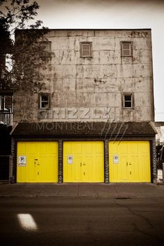 Garages Garage Door Colors, Garage Doors, Garages, Montreal, Poster Prints, Posters, Canada, Exterior, Yellow