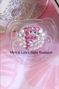 Any Initial Bling Baby Pacifier by MimiandLolas on Etsy, $18.00