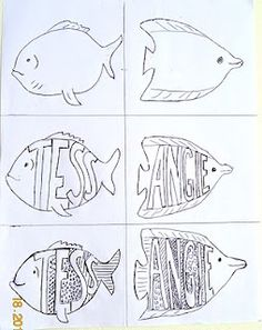 Fish theme this year! Art class ideas: Patterned Name Fish. or name tags for lockers/bulletin board (welcome back to our school! Art Sub Lessons, Drawing Lessons, Art Sub Plans, Art Lesson Plans, Middle School Art, Art School, 4th Grade Art, Art Worksheets, Name Art
