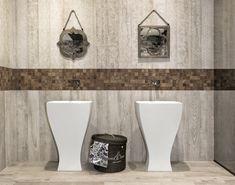 Elegantes Farbspiel An Boden Und Wand #Dolomiti #badezimmer #bathroom #wc  #waschbecken #amartur #spiegel #braun #weiß #grau #beige #farben  #bodenfliesen ...