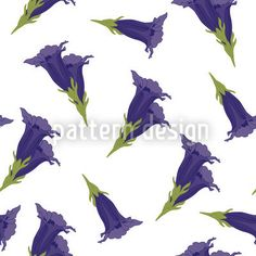 Gentian White by Martina Stadler available as a vector file on patterndesigns.com Swiss Design, Floral Artwork, Floral Illustrations, Vector Pattern, Vector File, Surface Design, Patterns, Art Floral, Block Prints