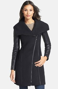 Dawn Levy 'Serena' Leather Sleeve Asymmetrical Wool Coat | Nordstrom