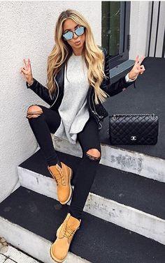 Ideas for basket femme tendance beige Timberland Outfits Women, Timberland Boots Outfit, Timberlands Women, Timberland Boots Women, Timberland Fashion, Mode Outfits, Fall Outfits, Casual Outfits, Fashion Outfits