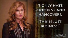 Sunburns and hangovers - Nashville ABC TV show - Raina James