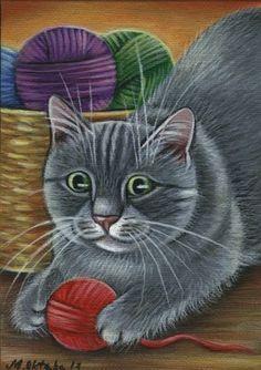 Gray Kitty Painting