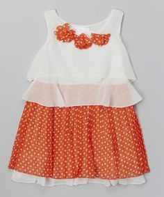 Take+a+look+at+the+White+&+Watermelon+Polka+Dot+Rosette+Dress+-+Toddler+&+Girls+on+#zulily+today!
