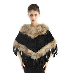 Poncho chale pour femmes tricotés en fourrure de lapin avec bordure en  fourrure de raton laveur c87671a5128