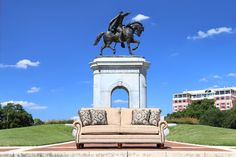Check out this beautiful Texas made sofa from Mayo in front of the Sam Houston Monument!   Houston TX   Gallery Furniture  