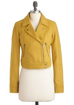 Vroom for Two Jacket in Mustard - Yellow, Solid, Pockets, Long Sleeve, Short, 2, Menswear Inspired, Vintage Inspired, Fall