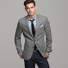 a light grey jacket & light blue shirt go well together