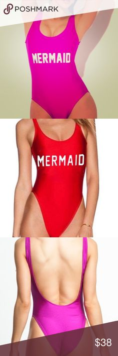 Mermaid One Piece Swimsuit Sexy and sporty backless one piece. Not lined, so slightly sheer when wet. Perfect for nighttime pool parties. 🌹💋 Red or pink option. NWOT, sample item. Swim One Pieces
