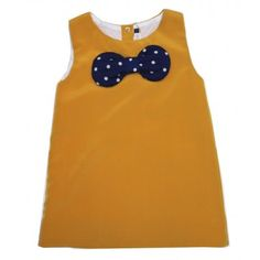 Girls mustard dress with navy bow
