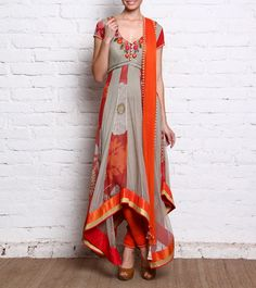 Grey & Orange Embroidered & Embellished Chiffon #Anarkali #Suit