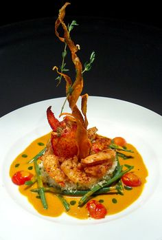 Food Plating Idea. Shrimps and Lobster.