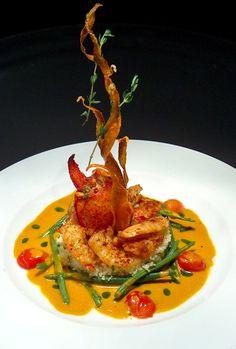 Food Plating Idea. Shrimps and Lobster.